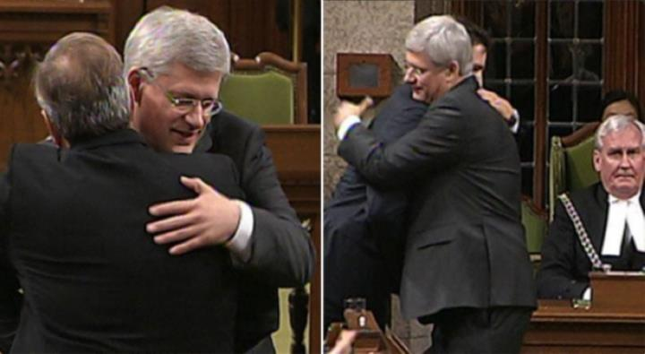 Post-event hugs, October 2014: Harper and Mulcair, Harper and Trudeau.